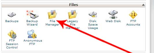 Log into your control panel File Manager